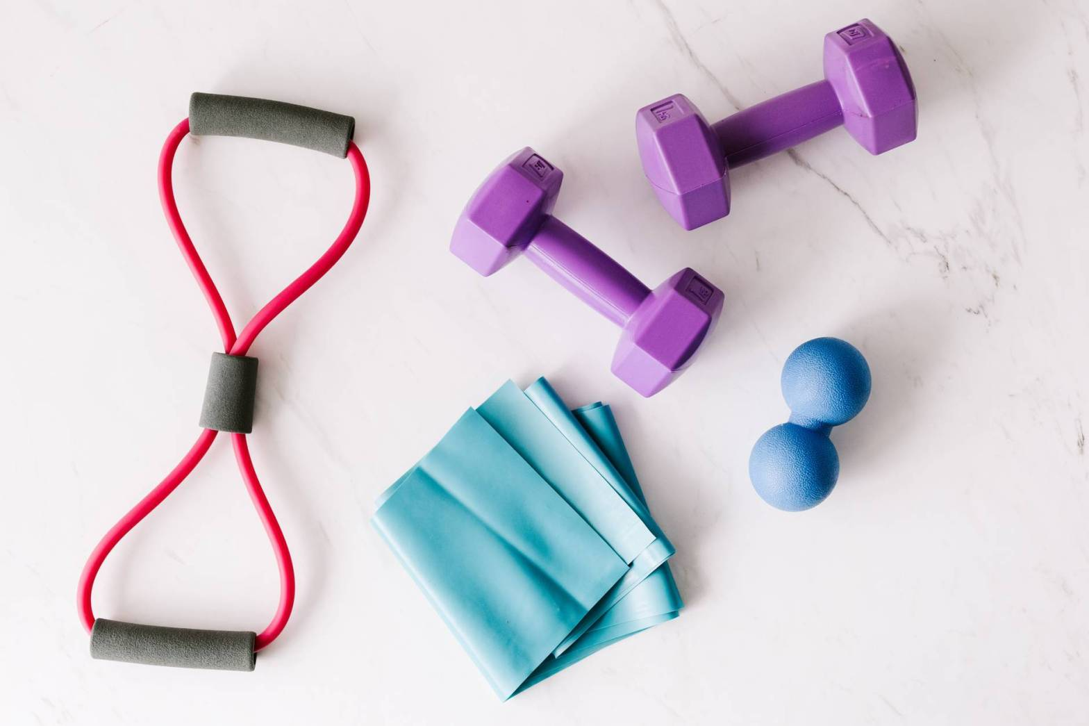 colourful fitness equipment, stretch bands and weights